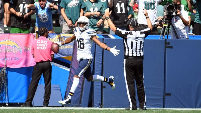 Oct 1, 2017; Carson, CA, USA; Los Angeles Chargers wide receiver Tyrell Williams (16) reacts after his touchdown against the Philadelphia Eagles at StubHub Center. Mandatory Credit: Richard Mackson-USA TODAY Sports
