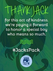 "This Jack's Pack card reminds people to ""pay it forward"""
