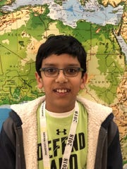 Dev Patel, a sixth grade student at Eisenhower Intermediate School, won the school wide competition of the National Geographic Bee on Friday, January 19.