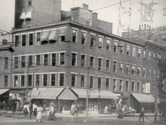 """The Thoms Building on the northeast corner of Fifth and Main streets stood more than a century longer than anyone thought it would. When William Thoms announced he would build a three-story building in 1829, folks thought such a tall building, the tallest in the city for many years, would likely fall, and called it """"Thoms' Folly."""""""