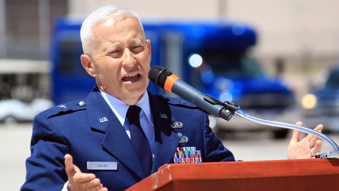 New Mexico National Guard Brigadier General Andrew Salas, seen giving a speech at Kirtland Air Force Base in Albuquerque in 2016.