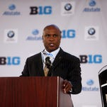 Purdue head coach Darrell Hazell addresses the media during Big Ten media day last year in Chicago