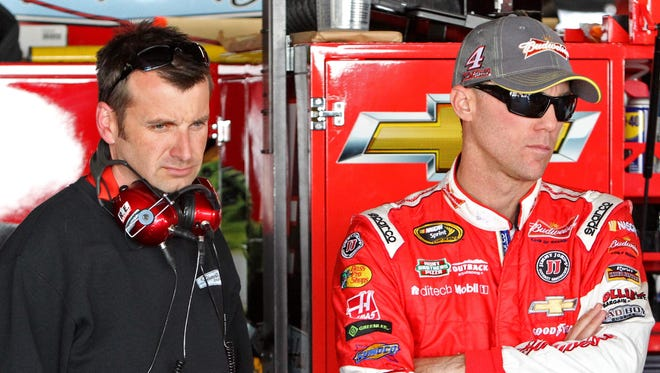 Rodney Childers, left, and 2014 Sprint Cup champion Kevin Harvick, right.
