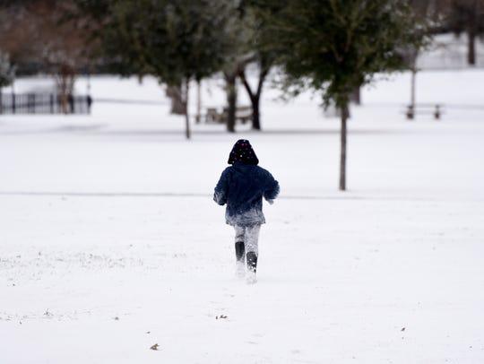 Snow in Shreveport, Louisiana on Tuesday January 16,