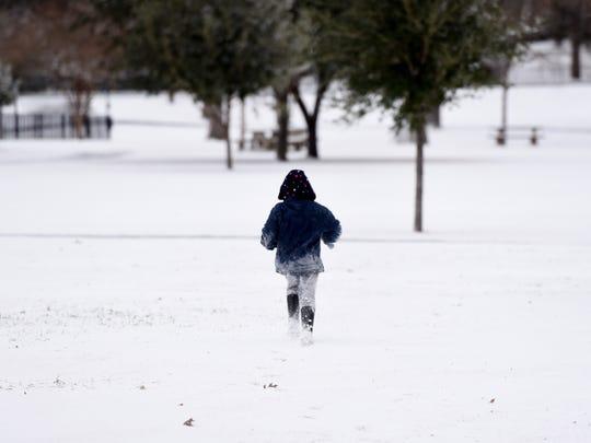 Snow in Shreveport, Louisiana on Tuesday January 16, 2018.