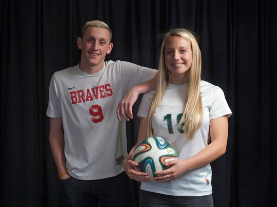 All-Shore Boys and Girls Soccer Players of theYear Ryan Hammer of Manalapan and Frankie Tagliaferri of Colts Neck. Photo taken on December 5, 2014 in Neptune, NJ. Peter Ackerman/Staff Photographer