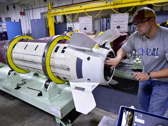 Letterkenny employee James Alston does missle work in MMF facility. Letterkenny Munitions Center (LEMC) held a tour for invited guests on Wednesday, September 28, 2016.