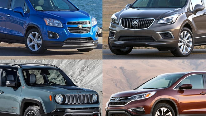 Clockwise from upper left, 2016 Chevrolet Trax LTZ, 2016 Buick Envision, 2016 Honda CR-V and 2016 Jeep Renegade