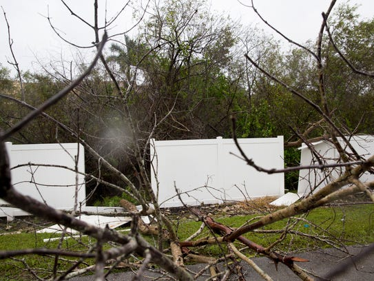 Downed power lines, felled trees, branches, and other