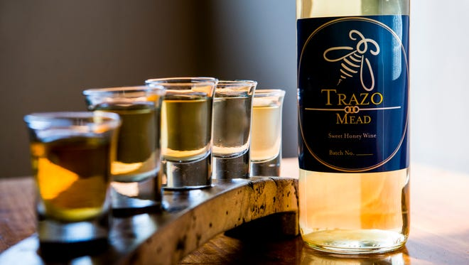 A flight of various meads from Trazo Meadery.