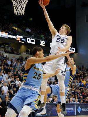 Xavier's J.P. Macura scored his career high of 20 points against Marquette at the Cintas Center on Saturday, February 6, 2016. Xavier won 90-82.