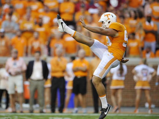 Tennessee punter Trevor Daniel (93) punts it away as the University of Tennessee plays Oklahoma in the first half.Saturday Sept. 12, 2015, in Knoxville, Tenn
