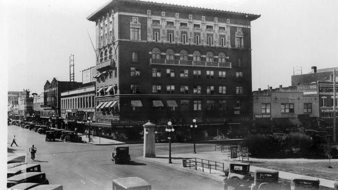The Masonic Building, now known as the Franklin Building, is seen during the 1940s.