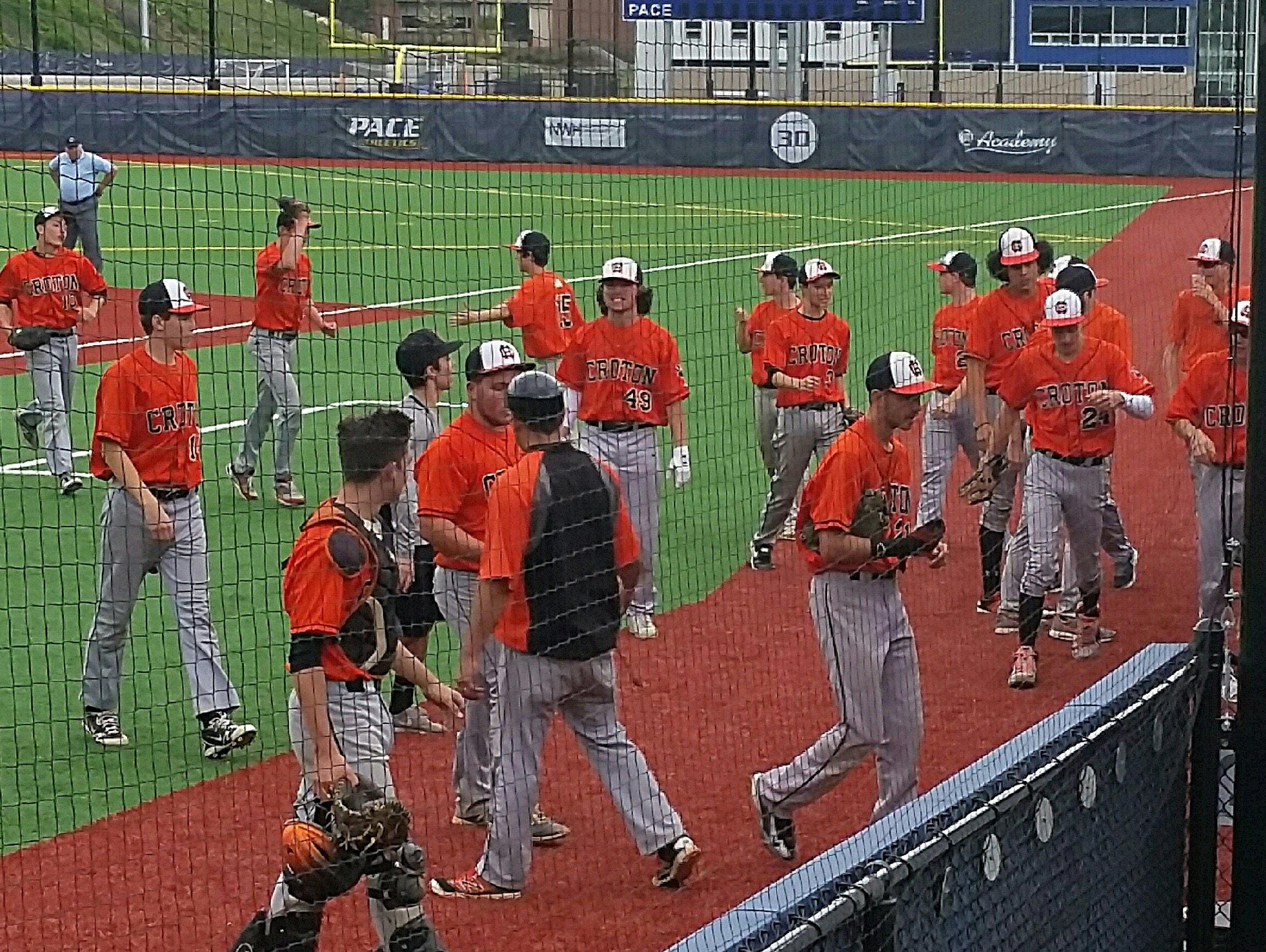 Croton-Harmon celebrates after eliminating Pleasantville in a Class B quarterfinal at Pace University on Tuesday.
