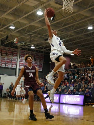 Indianola senior Evan Gauger takes the ball to the basket on a breakaway. Indianola lost to Oskaloosa 63-53 in a Little Hawkeye Conference game in Indianola on Jan. 4.