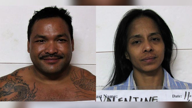 Combined mugshots of Mario Victor Champaco Jr. and Thelma Marie Valentine