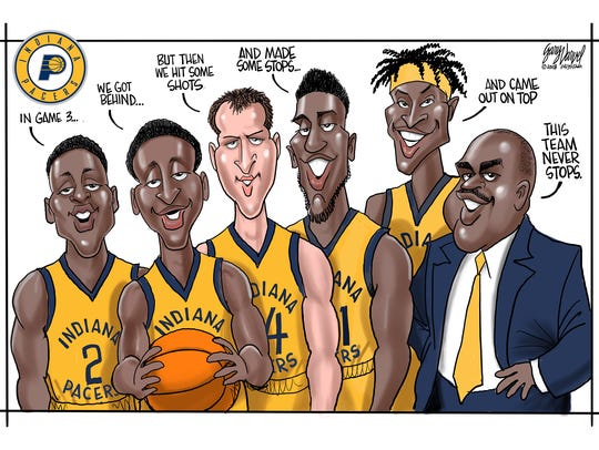 From left: Darren Collison, Victor Oladipo, Bojan Bogdanovic, Thaddeus Young, Myles Turner and Coach Nate McMillan