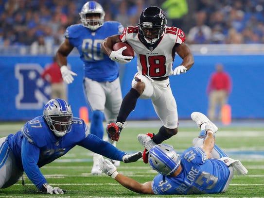 Atlanta Falcons wide receiver Taylor Gabriel (18) leaps