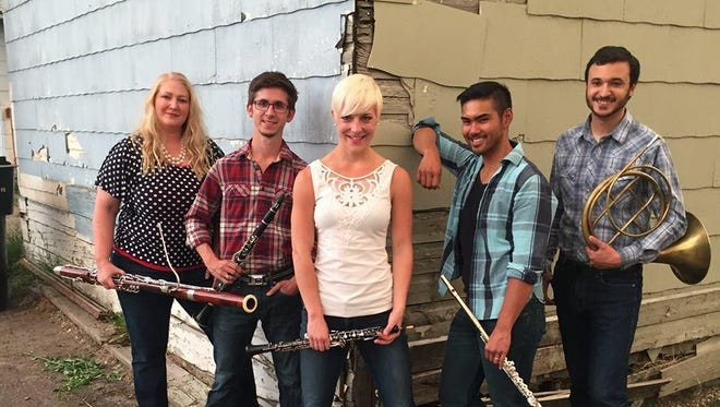 The Chinook Winds, from left, are bassoonist Elizabeth Crawford, clarinetist Christopher Mothersole, Melanie Pozdol on oboe, flutist Norman Gonzales and horn player Mike Nelson.
