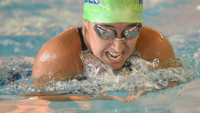 Lake Kandle's Illse Martinez swims the breaststroke in the girls 15-18 individual medley during the Peach Bowl Gloucester County swimming championships at GCIT on Tuesday. 07.25.18.