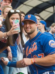 The New York Mets played the Boston Red Sox on Wednesday, March 8, 2017, at First Data Field in Port St. Lucie. The Mets won 8-7. Tim Tebow was the designated hitter.