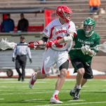 Cornell junior midfielder John Edmonds, pictured during the Big Red's 8-2 defeat of Dartmouth on March 28, has 19 goals and nine assists this season. Edmonds and Cornell take on Princeton in the Ivy League Tournament semifinals at 5 p.m. Friday at Brown.