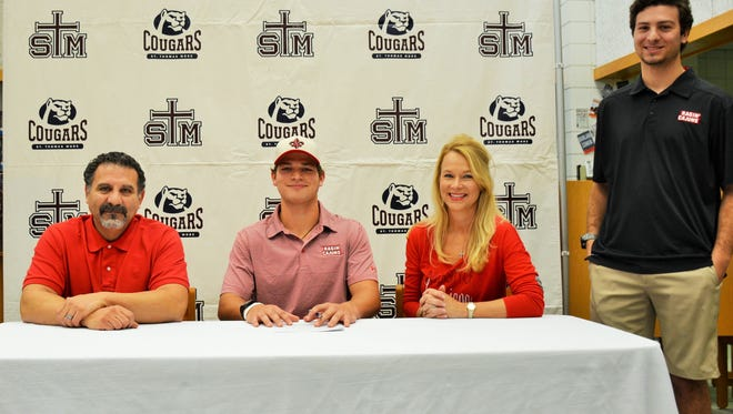 STM's Alex Hannie signs with UL baseball Wednesday.