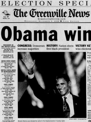 The front page of The Greenville News on Nov. 5, 2008.