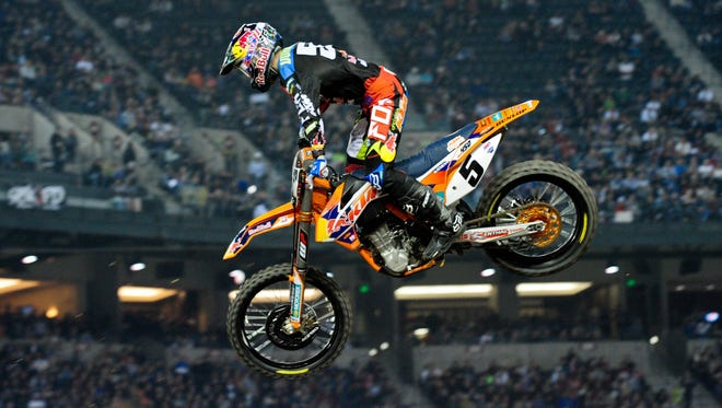 AMA 450SX rider Ryan Dungey, seen during the main event of the AMA Supercross Series at Chase Field on Jan. 10, won again at San Diego.