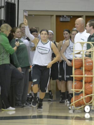 In the back, Laken James, right, guards fellow freshman Allie LeClaire during the University of Wisconsin-Green Bay women's basketball preseason scrimmage at UWGB's Kress Events Center on Saturday, Oct. 25, 2014.