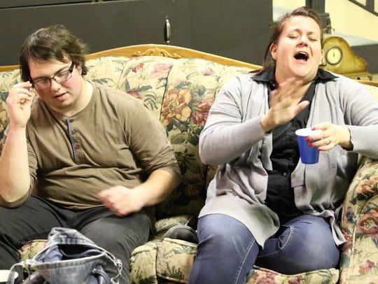 Ethan Franklin and Annette GiGiacomo rehearse a scene