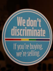 This nondiscrimination sticker is in the window of Steve's, a downtown Jackson restaurant. Owners Steve Long and his wife are among a number of business owners who practice nondiscrimination with their clientele. But a Mississippi law that lets government workers and business people cite their own religious objections to refuse services to gay couples, is set to go into effect Friday because a federal appeals court refused to keep blocking it. Advocates of same-sex marriage said Monday, that they will ask the U.S. Supreme Court to strike it down.