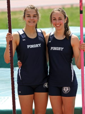 "Pingry pole vaulters Julia Dannenbaum, left, and Sophia Cortazzo, set a record for Somerset County during the Somerset County Track Relays at Ridge High School in the Basking Ridge section of Bernards. Dannenbaum jumped a 11'9"", and Cortazzo jumped 11'."