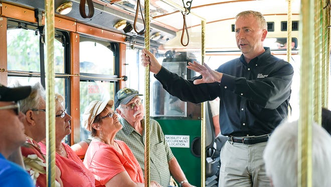 In this 2017 photo, St. Cloud Mayor Dave Kleis talks about the history of the city during a 90-minute trolley tour around town. More tours are planned for the coming months.
