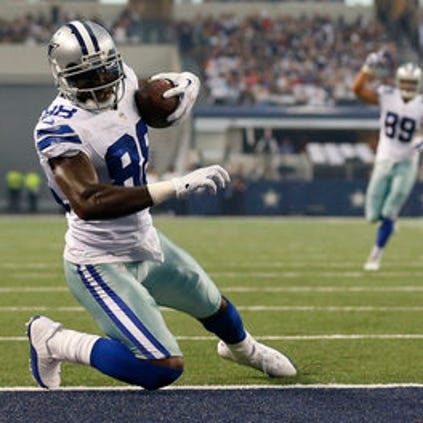 Dallas Cowboys receiver Dez Bryant (88) catches a touchdown pass in the first quarter against the Baltimore Ravens at AT&T Stadium on August 16, 2014. (Matthew Emmons-USA TODAY Sports)