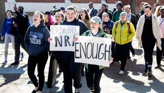 Students gathered in front of the University Center at the University of Memphis, including whole classes that walked out together in protest of gun violence in schools on March 14, 2018.