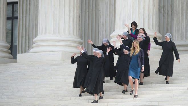 A federal judge in California blocked the Trump administration Friday from letting companies deny women insurance coverage for contraceptives. Last year, the Supreme Court said groups such as the Little Sisters of the Poor, shown here, should be able to sidestep the prior mandate.