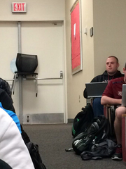 University of South Carolina student Augusta Fox shared this photo from inside a classroom on campus. The doors were blocked after an alert indicated a shooting on campus.