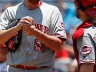 Cincinnati Reds first baseman Joey Votto (19) watches the ball fly before flying out in the bottom of the first inning of the MLB interleague game between the Cincinnati Reds and the Oakland Athletics at Great American Ball Park in downtown Cincinnati on Friday, June 10, 2016.