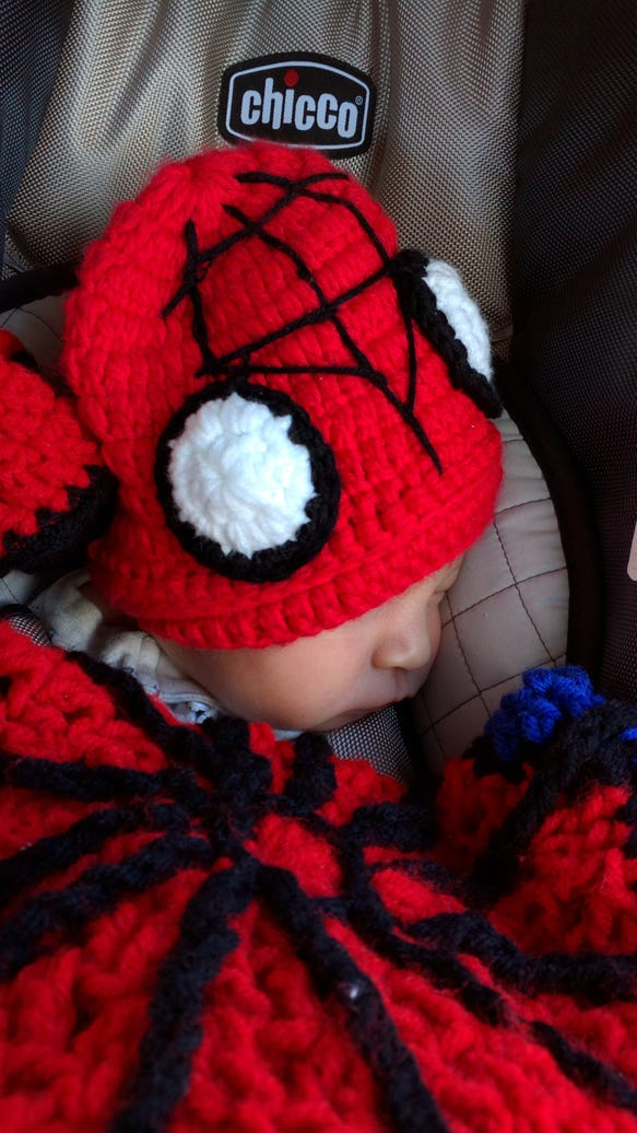 Brandon Parker Coursen coming home from the hospital in Spidey gear in January 2016