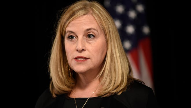 Nashville Mayor Megan Barry speaks to the media at her news conference at the Metro Courthouse on Wednesday, Jan. 31, 2018, in Nashville. That day she admitting to having an extramarital affair with her police officer bodyguard.