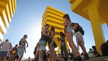 The scene at the Katrina Chairs during the first weekend of the 2016 Coachella Valley Music and Arts Festival in Indio.
