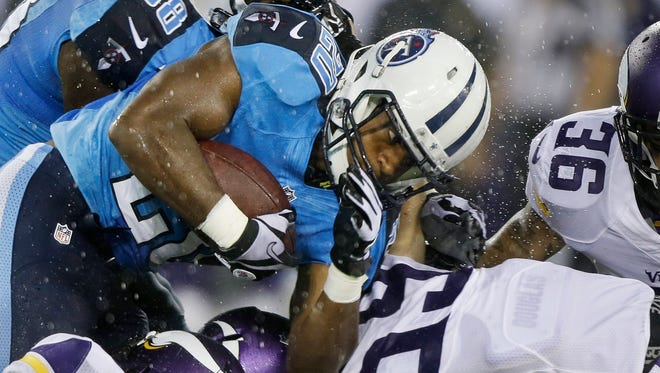 Titans running back Bishop Sankey rushes against the Vikings on Thursday at LP Field.