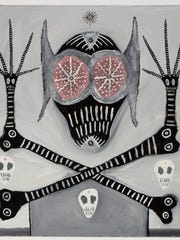 "Gregory Van Maanen's paintings, including ""The Art of Majik"" (1989), incorporate symbolic skulls, all-seeing eyes and other imagery that the artist believes offer him spiritual protection."
