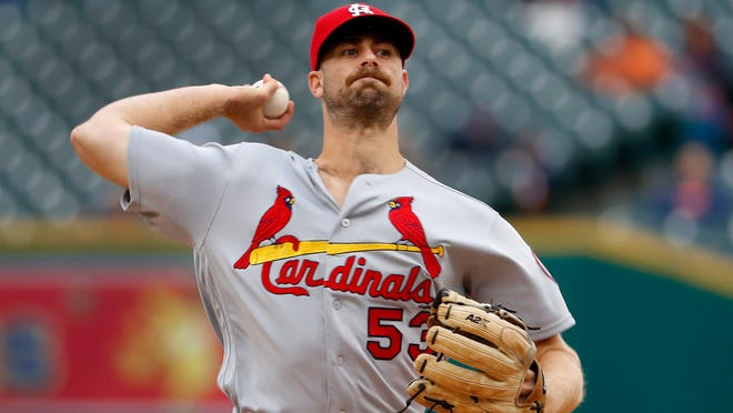 St. Louis Cardinals pitcher John Gant throws against the Detroit Tigers in the first inning of a baseball game in Detroit, Sunday, Sept. 9, 2018. (AP Photo/Paul Sancya)