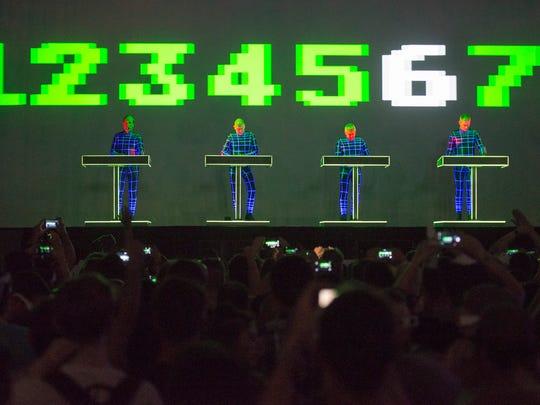 Kraftwerk performs on the main stage.