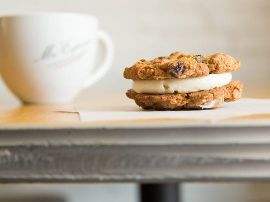 Little Mosko's oatmeal raisin cream cookie with coffee.