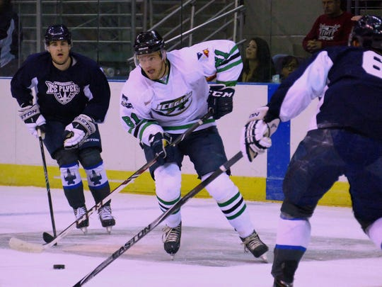 The Pensacola Ice Flyers (blue uniforms) have established a roster for the upcoming season.