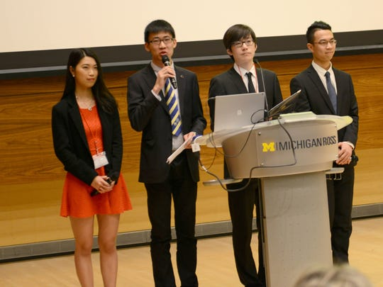 Left to right: Yue Xu, Ziqi Guo, Hancheng Lu and Zangnan Yu are four University of Michigan students who helped put the first Michigan China Forum together. It was held March 25-26, 2017, at the Ross School of Business on the campus in Ann Arbor.