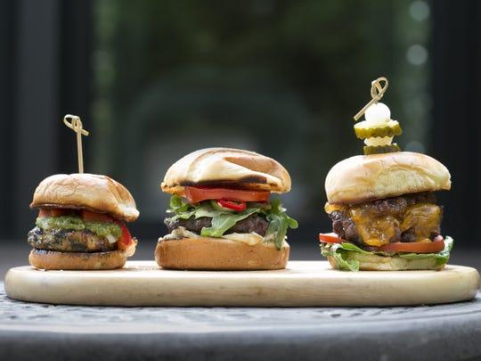 l to r:  Chicken Popeye Slider, Lamb Burger, Great